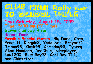 Club Penguin Rally Back To School Party Banner